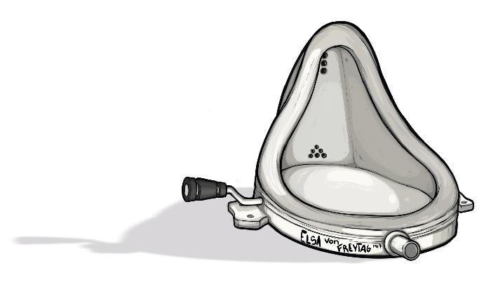 Detalle de ilustración del urinario de Elsa Von Freytag-Loringhoven.